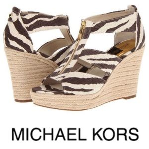 Michael Kors || Damita Zebra Zip Up Wedge